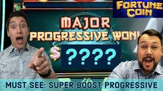 MAJOR PROGRESSIVE WIN on Fortune Coin with a SUPER BOOST!