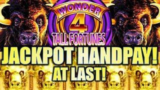 •JACKPOT HANDPAY! FINALLY AT LAST!!• BUFFALO GOLD (WONDER 4 TALL FORTUNES) Slot Machine (Aristocrat)