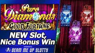 Pure Diamonds Good Fortune Slot - New Slot, Live Play and Nice Free Spins Bonus Win