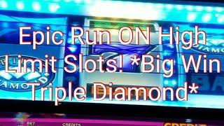 *High Limit* $Big Win$ Spitfire multipliers Triple Diamond slot machine! *Max Bet* 3 bonuses
