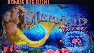 Mystical Mermaid Returns Slot Machine Bonus-Big Win!