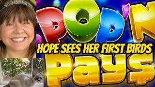 POP N PAYS BONUS & HOPE SEES HER FIRST BIRDS