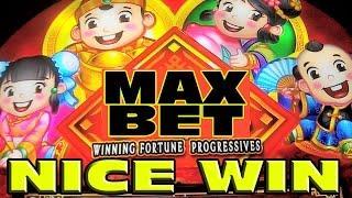 Winning Fortune Progressives MAX BET NICE WIN Las Vegas Slot Machine Bonus