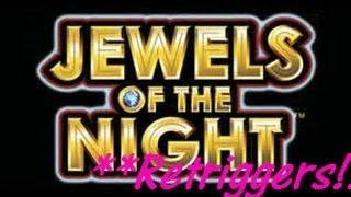 Jewels of the Night - WMS Slot Machine Bonus Win with re-triggers