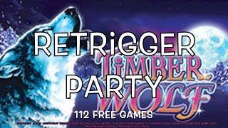 TIMBER WOLF - Retrigger, Retrigger, Retrigger - Bonuses with Big Wins - Aristocrat Slot Machine