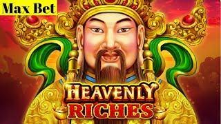 Heavenly Riches Slot Machine $5.50 MAX BET Bonuses Won   Live Slot Play w/NG Slot