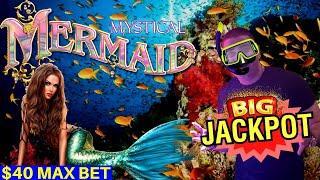 BIG HANDPAY JACKPOT On Mystical Mermaid Slot & $50 Top Dollar Slot Machine HANDPAY JACKPOT   PART-1