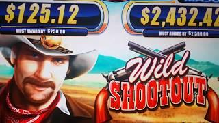 CRAZY! JACKPOT HANDPAY on 1st SPIN! Wild Shootout Slot Machine MAJOR PROGRESSIVE!!!