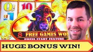 Buffalo Gold Slot Machine | Huge Bonus Win, 400 X Bet | Retriggers!
