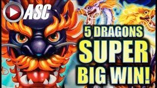 •SUPER BIG WIN!• 5 DRAGONS GRAND & DANCING DRUMS! Slot Machine Bonus