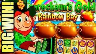 •BIG WIN! A POT OF GOLD!• LEPRECHAUN'S GOLD • RAINBOW BAY Slot Machine Bonus (SG)
