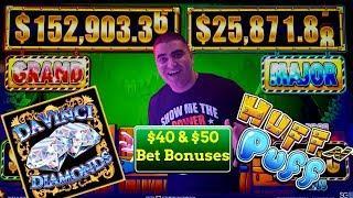 How Much Will Pay $40 & $50 Bet Bonuses On High Limit Huff N Puff & Davinci Diamond Slots