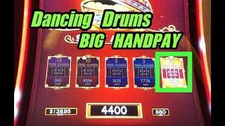 BIG HANDPAY on Dancing Drums slot machine + lock it link and dragon lanterns