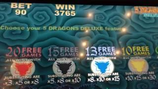 5 DRAGONS DELUXE -  Retrigger, Retrigger, Retrigger - Very Good Wins - Aristocrat Slot Machine