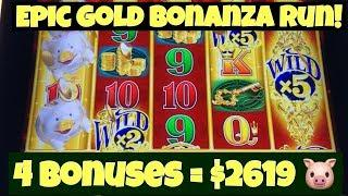 • Epic Run On Gold Bonanza Slot • 4 X Huge Bonuses + Neighbor's Jackpot Line Hit Casino Pokies