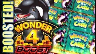 •BOOST UPGRADE! WONDER 4 BOOST• • WHALES OF CASH Slot Machine Bonus Win (Aristocrat)