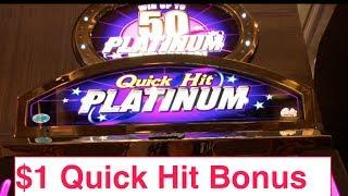 Quick Hit Platinum Slot Machine Bonus-$1 Denomination!
