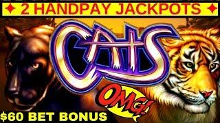 •2 HANDPAY JACKPOTS• On High Limit CATS Slot Machine $60 Bet Bonus ! Awesome Run In High Limit Room