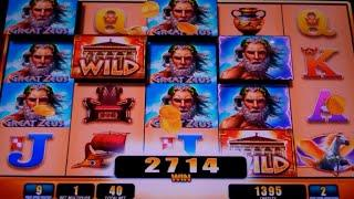 Great Zeus Slot Machine Bonus - 11 Free Games with Added Zeus Symbols - Big Win