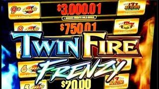 •TWIN FIRE FRENZY• I WON A GOLD BONUS!? QUICK HIT & HOT SHOT $6.00 MAX BET Slot Machine Bonus (SG)