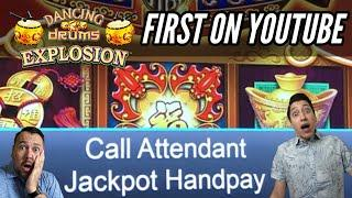 JACKPOT HANDPAY! NEW Dancing Drums Explosion! Low Bets can WIN BIG TOO!
