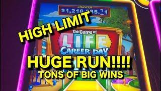 HUGE RUN!  High Limit Game of Life Career Day Slot (TEN CENT DENOM).