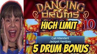 HANDPAY! HIGH LIMIT- 5 DRUM BONUS