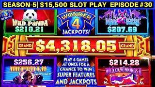 Wonder 4 Jackpots Slot Max Bet Live Play - Buffalo Deluxe & Wild Panda| SEASON 5 | EPISODE #30