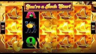 "New Aristocrat Slot Game ""MYSTICAL SANDS"" + HUGE WINS! All 3 bonus features"