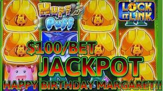 HIGH LIMIT Lock It Link Huff N' Puff HANDPAY JACKPOT ⋆ Slots ⋆$100 Bonus Round Slot Machine Casino Big Win!