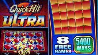 *NEW QUICK HIT ULTRA PAYS* (WILD MONKEY)* MAX BET! FREE SPINS BIG WIN!! U SPIN QH,