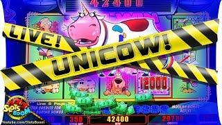 LIVE UNICOW!!! JACKPOT!!! Invaders Return From The Planet Moolah!!! 1c WMS Slots