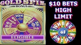 • GOLD SPIN WHEEL OF FORTUNE • HIGH LIMIT • 10X MULTIPLIER • BIG WIN •