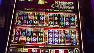 56 Free Games! Big WIN Wonder 4 Boost $8 bet Rhino charge Free Spins bonus slot machine pokie