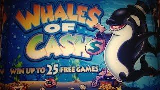 •Whales of Cash Slot machine•FINALLY HAND PAY !! BONUS JACKPOT•5¢slot 50 bet ($2.50)  x 525
