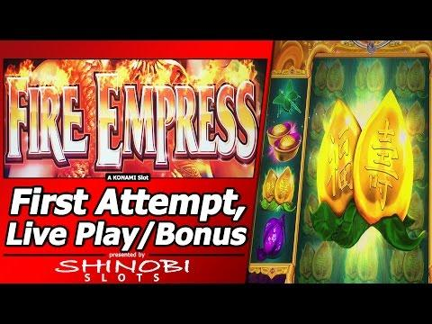 Fire Empress Slot - Live Play, 2 Free Spins Bonuses with Gigantic Free Spin Feature