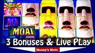 Big Win !! ( Great Moai ) Slot Machine by Konami 3 Bonuses and Live Play at Barona Casino