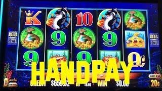 Whales of Cash Deluxe live play HANDPAY JACKPOT WIN 20 cent HIGH LIMIT DENOM