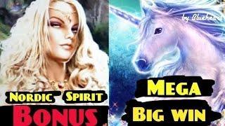 MYSTICAL UNICORN / NORDIC SPIRIT slot machine Bonus and MEGA BIG WIN!