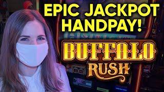 EPIC JACKPOT HANDPAY! First Time Playing Buffalo Rush! What An Awesome NEW Buffalo Slot Machine!!