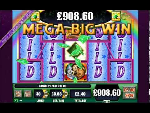 £1252 ON WIZARD OF OZ™ MEGA BIG WIN (522 X STAKE) - SLOTS AT JACKPOT PARTY