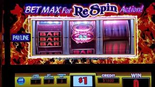 Red Hot 7s Respin (Double Diamond) Slot Machine With Respin Bonus Win