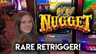 30 Free Games! Wild Wild Nugget Slot Machine! Rare Re-Trigger BONUS!!