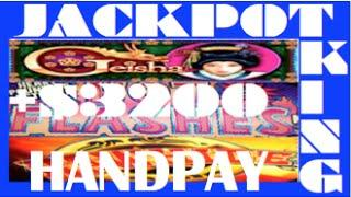 HOT FLASHES, GEISHA & RAWHIDE slot machine big wins ****JACKPOT HANDPAY****