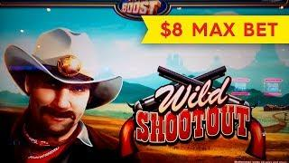 Wild Shootout Slot - $8 Max Bet - RETRIGGER BONUS!