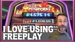 TIME TO WIN SOME $$ • 5 SLOTS WITH FREEPLAY! • DEVILS & PITCHFORKS • ICY WILDS