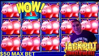 High Limit Piggy Bankin $50 Max Bet ★ Slots ★HANDPAY JACKPOT★ Slots ★ | High Limit Lightning Link ★