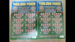 $100,000 POKER Instant Lottery Scratchcards - playing TWO