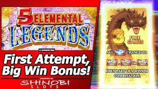5 Elemental Legends Slot - First Attempt with Big Win Free Spins Bonus