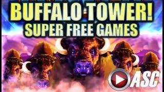 •BIG WIN!! WONDER 4 TOWER• BUFFALO w. SUPER FREE GAMES! Slot Machine Bonus (Aristocrat)